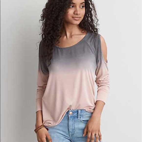 7fc069e46dfeb American Eagle Outfitters Tops - American Eagle Pink Ombré Cold Shoulder Top